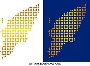 Golden Dot Greek Rhodes Island Map