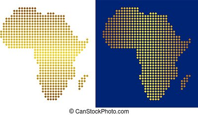 Golden Dotted Africa Map