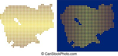 Golden Dotted Cambodia Map
