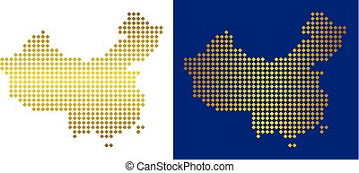 Golden Dotted China Map