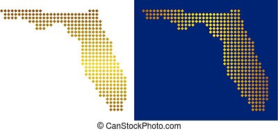 Golden Dotted Florida Map