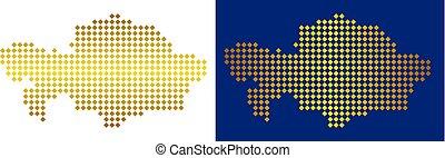 Golden Dotted Kazakhstan Map