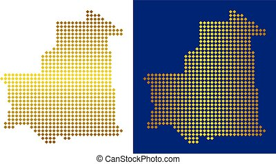 Golden Dotted Mauritania Map