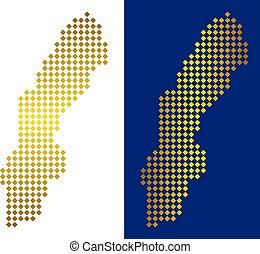 Golden Dotted Sweden Map