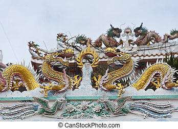 Golden dragon decorated on Chinese