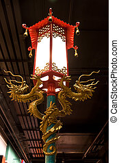 golden dragon on red lamp