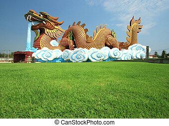 Golden Dragon on the Sky
