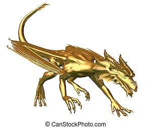Golden Dragon Statue - prowling