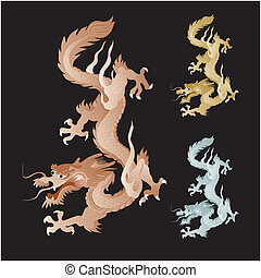 golden dragon vector graphic