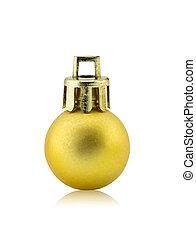 golden dull christmas ball on white background