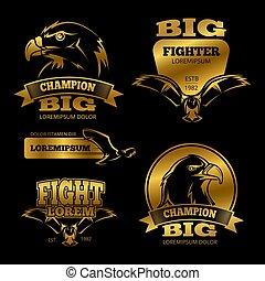 Golden eagle heraldry vector labels, logos, emblems