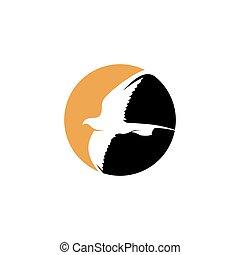 Golden Eagle in Circle Flying Logo Symbol