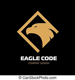 Golden eagle Logo. Bird, phoenix. The head in profile. Vector Logo Template.
