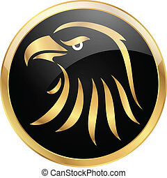 Golden eagle on black background