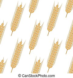Golden ears of wheat seamless pattern