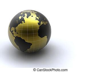 golden earth on white background