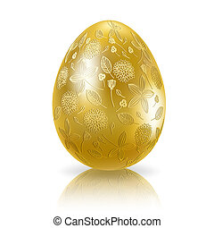 Golden easter egg with floral ornament. Vector eps10...