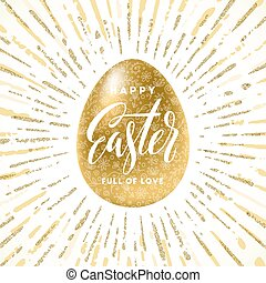 Golden Easter egg with holiday greeting - Vector illustration.