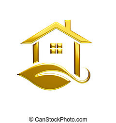 Golden Eco House Logo Illustration Graphic Design
