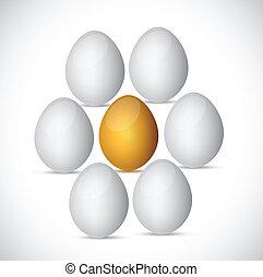 golden egg around white eggs. illustration