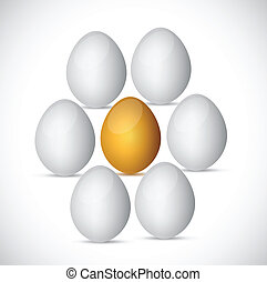 golden egg around white eggs. illustration