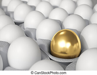 Golden Egg - Difference concept. - 3d render. Difference...