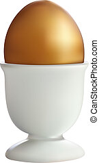 Golden Egg in a stand on a white b
