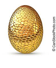 Golden egg isolated on white background.