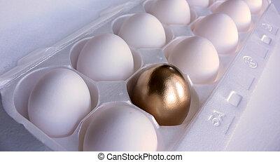 Golden Egg Surprise! - Dozen white eggs, with one of the ...