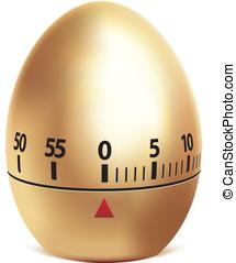 Golden egg timer isolated on white.