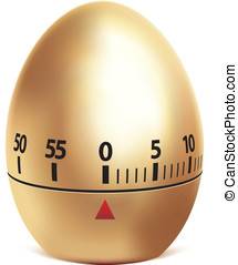 Golden egg timer isolated on white.