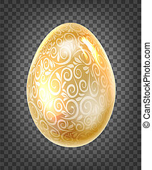 Golden egg with golden fantasy texture isolated on black transparent background.