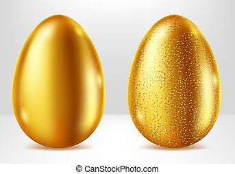 Golden eggs, Easter metal gift realistic