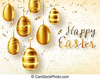 Golden eggs realistic vector, Easter sale banner