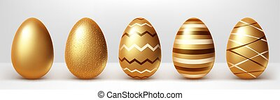 Golden eggs realistic vector set illustration