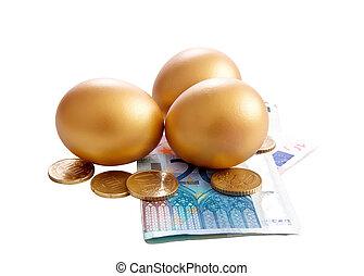 Golden eggs with money bills on white background