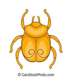 Golden Egyptian scarab beetle icon, cartoon style
