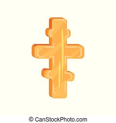 Golden eight-pointed cross. Christian culture theme. Symbol...