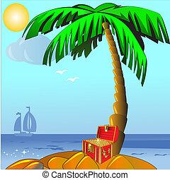 gold(en), eiland, palm, koffer