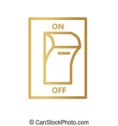 golden electric switch icon- vector illustration
