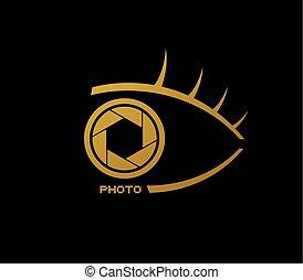 Golden elegant half eye photo icon