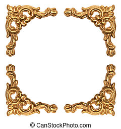 golden elements of carved baroque frame isolated on white...