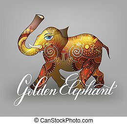 golden elephant decorative 3d vector illustration