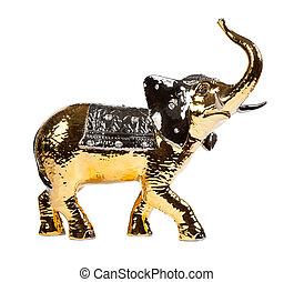 Golden elephant isolated on white background