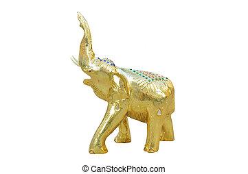 Golden elephant isolated