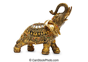 Golden elephant - Handcrafted indian elephant isolated on a...