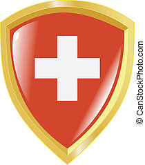 golden emblem of Switzerland