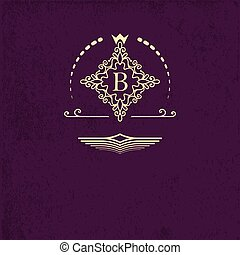 Golden emblem ornamental frame around the letter B. Monogram design elements, fancy template. Simple logos design for Royalty, business card, Boutique, Hotel, Heraldic, Web design.
