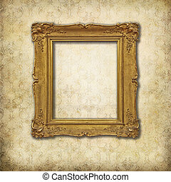 Golden empty frame on a stylized Victorian background