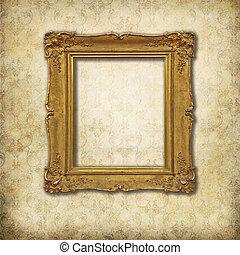 Golden empty frame on a stylized Victorian background